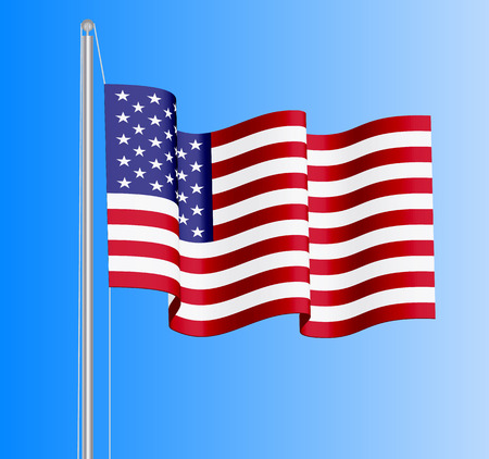 be the identity: Waving USA flag on azure sky background. Can be used for business identity, print products, page and web decor, signs, placards, backgrounds or other design. Vector illustration.