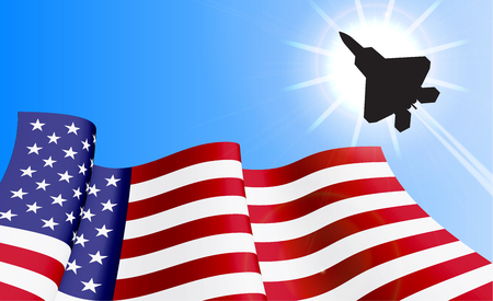 be the identity: Waving USA flag with with fighter on azure sky background. Can be used for business identity, print products, page and web decor, signs, placards, backgrounds or other design. Vector illustration. Illustration