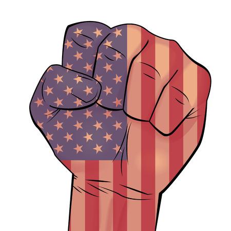 Main de l'homme serré dans le poing avec fond de drapeau USA. Peut être utilisé pour l?identité d?entreprise, les produits d?impression, les décorations de pages et de sites Web, les enseignes, les pancartes, les arrière-plans ou tout autre motif. Illustration vectorielle
