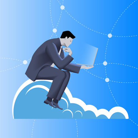 cliff edge: Cloud business concept. Pensive businessman in business suit with notepad in his hand sitting on the cloud and watching on the glowing notepad screen. Business in web, thinking, planning concept Illustration