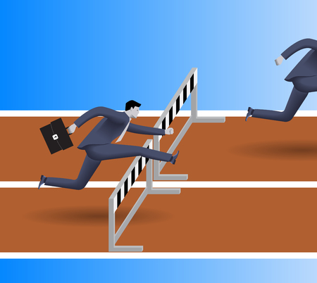 business obstacle: Breath in the back business concept. Confident businessman in business suit with case jumps over the obstacle. His opponent just a couple steps before him and will be beaten soon. Competition concept