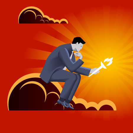 cliff edge: Burden of leadership business concept. Pensive businessman in business suit with burning torch in his hand sitting on the cloud and watching on the torch. Burden of choice.