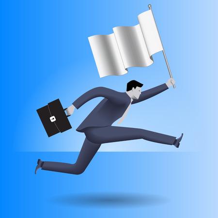 Portare il concetto di business bandiera. Uomo d'affari sicuro in vestito di affari con il caso in una mano e la bandiera in altre corre veloce come può. concetto di direzione