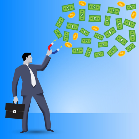 Attracting investments business concept. Confident businessman in business suit with magnet in one hand and case in other hand attracts investments in form bills and coins cloud. Illustration