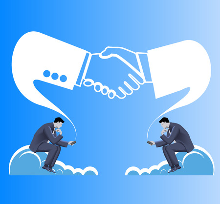 establishing: Deals are made in cloud business concept. Two businessmen in suits seat on clouds and establishing connection via their smart phones. Business in web or cloud, partnership, searching for opportunities