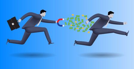 채무자 비즈니스 개념입니다. 자신감이 사업가 비즈니스 정장에서 한 손으로 및 다른 경우에 사건에서 다른 사업가 쫓아 가고 그 밖으로 돈을 꺼내십시오.