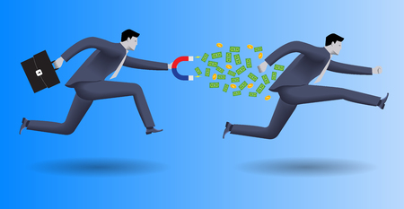 collector: Debt collector business concept. Confident businessman in business suit with magnet in one hand and case in other chases another businessman and pulls money out of him.
