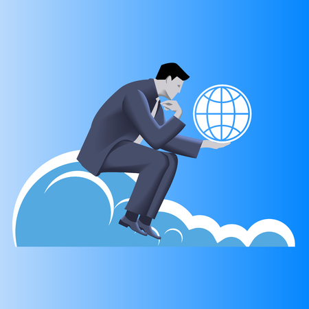 dominance: Global dominance business concept. Pensive businessman in business suit with globe symbol in his hand sitting on the cloud thinking about global dominance of his business. Strategy growth concept.