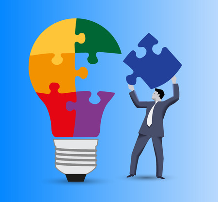 Last part of the solution business concept. Confident businessman in business suit with piece of puzzle in his hand going to finish with this piece light bulb puzzle. Concept of solution, idea born. Illustration
