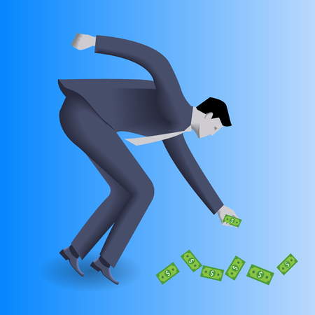 easy money: Money under your feet business concept. Confident businessman in business suit picks money bills under his feet. Concept of investment, easy money, profitable business area.