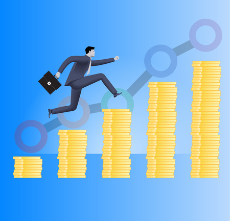 On the way to success business concept. Confident businessman in business suit with case in his hand runs up the piles of gold coins. Concept of success, investment, profitable business.