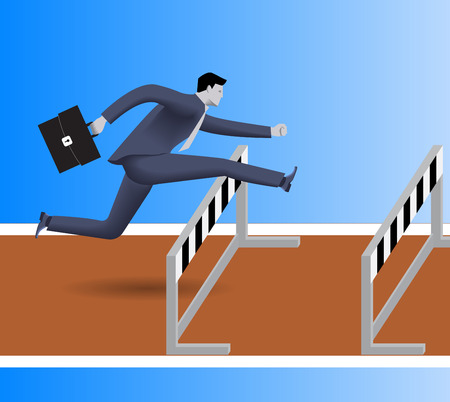 Over the obstacles business concept. Confident businessman in business suit with case jumps over the obstacles on his way to success. Illustration