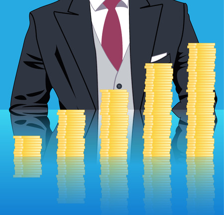 Stacking profits business concept. Confident businessman in business stack column of gold coins on mirror table. Concept of success, investment, profitable business. Illustration