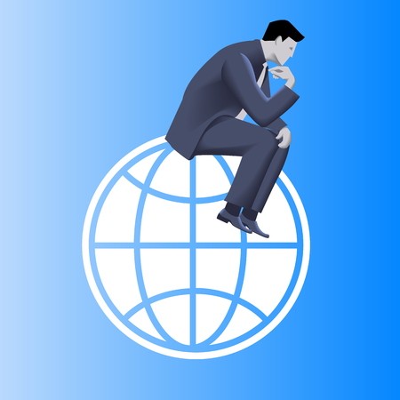 Thinking globally business concept. Pensive businessman in business suit sitting on the globe and plans strategy of his business development. Illustration
