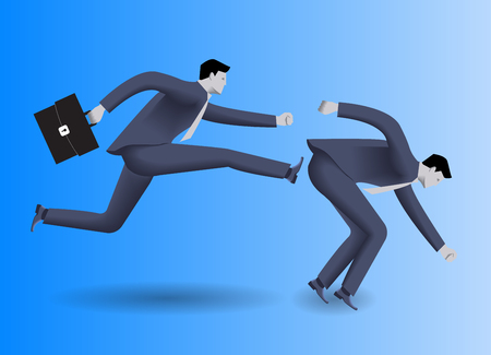 opponent: Tough competition business concept. Confident businessman in business suit with case in his hand kicks his stumbled opponent to clear his way. Concept of competition, rivalry, win and loose.