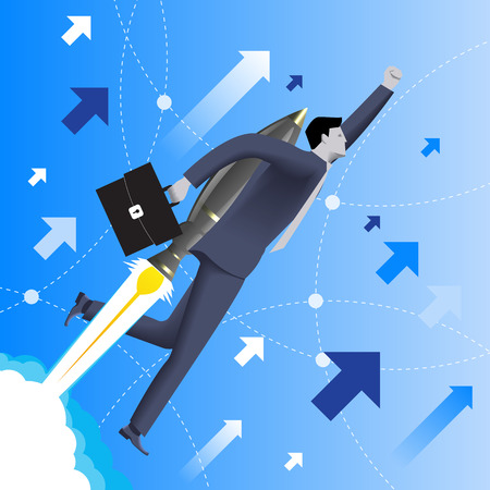 dominance: With the rocket speed business concept. Confident businessman in business suit with case in his hand and rocket engine on his back flies upwards at high speed. Concept of startup and quick success. Illustration
