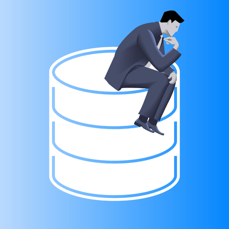 Big data business concept. Pensive businessman in business suit sits on top of huge database sign. Symbols of data driven business. Vector illustration. Use as template, background.