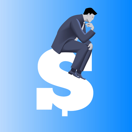 Big money business concept. Pensive businessman in business suit sits on top of huge dollar sign. Symbols of money driven business. Vector illustration. Use as template, background.
