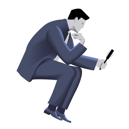 Businessman with magnifier template. Sitting pensive businessman in business suit with magnifier in his hand. Vector illustration. Use as template, background or other design. Illustration
