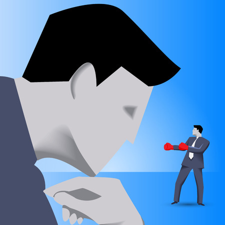 irony: Corporate vs small business competition concept. Huge businessman looks with irony on brave small businessman in boxing gloves. Vector illustration. Use as template, background or other design.
