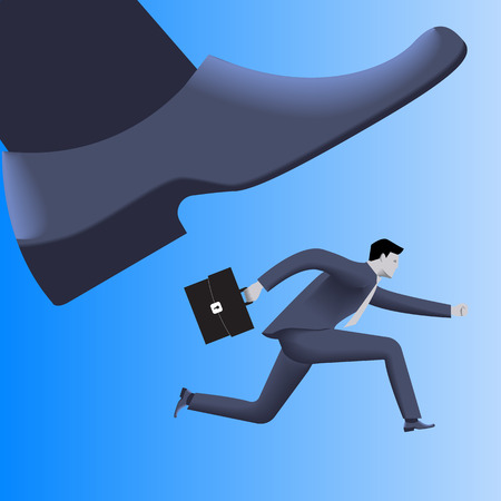 competitions: Corporate vs small business competition concept. Huge foot of corporate business trying to smash small running businessman with case. Vector illustration. Use as template background.