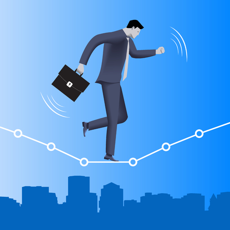Equilibrium business concept. Confident businessman in business suit with case balancing on dotted graph over the city. Vector illustration. Use as template, background.