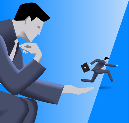 Corporate vs small business cooperation concept. Huge businessman helps small businessman to jump over abyss. Concept of help, protection, cooperation, collaboration, mentoring. Vector illustration.  イラスト・ベクター素材