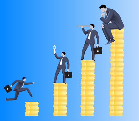 differentiation: Hierarchy concept. Different business roles on different payment options. Payment and position business differentiation. Overlooking, motivating, searching and working roles.Vector illustration.