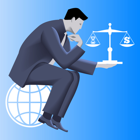 dominance: Time money balance business concept. Pensive businessman in business suit sitting on the globe and holding scales with time symbol on left plate and dollar symbol on right plate. Vector illustration.