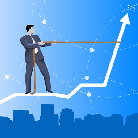 taming: Trend taming business concept. Confident businessman in business suit riding on back of rising graph over the city. Vector illustration. Use as template, background or other design.