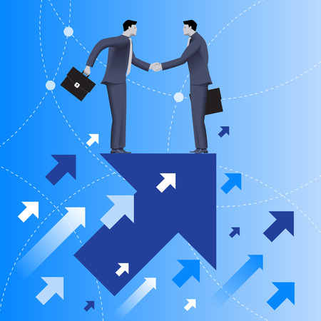 in common: Mutual benefit business concept. Two businessmen shaking each other hands standing on top of arrow flying up. Concept of deal, benefit, common ground, contract, agreement. Vector illustration.