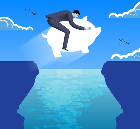 Riding on savings on crisis time business concept. Confident businessman in business suit jumps on piggy bank over abyss between two cliffs. Vector illustration. Use as template, background. Illustration