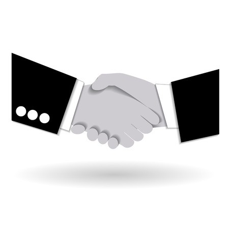 common target: Agreement handshake business concept. Two businessmen shaking each other hands. Concept of deal, benefit, common ground, contract. Vector illustration. Use as template, background. Illustration