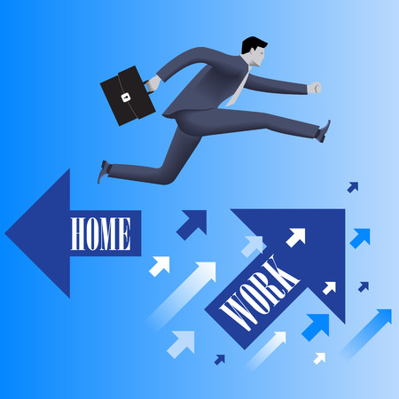 the case before: Business first business concept. Confident businessman in business suit with case in his hand jumps from HOME flying arrow to WORK flying arrow. Business before home concept. Vector illustration.