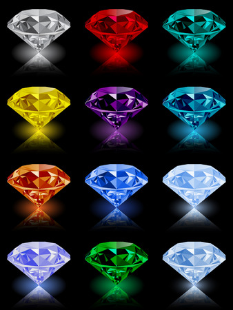 garnet: Set of shining jewels with reflections and glow isolated on black background. Jewel and jewelry. Colorful gems and gemstones. Diamond, emerald, ruby, topaz, sapphire, garnet, grandidier, tourmaline