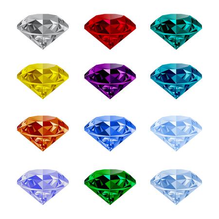 Ensemble de brillants joyaux isolé sur fond blanc. Jewel et des bijoux. pierres précieuses et pierres précieuses colorées. Diamant, émeraude, rubis, topaze, saphir, grenat, Grandidier, vecteur de tourmaline.