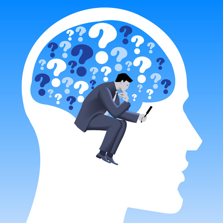 Analyzing problem business concept. Pensive businessman in business suit inside human brain filled with questions and looking via magnifier. Vector illustration. Use as template, background.