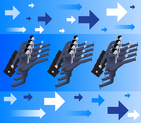 formation: Corporate army business concept. Formation of confident businessmen in business suits with cases marching forward. Vector illustration. Use as template, background.