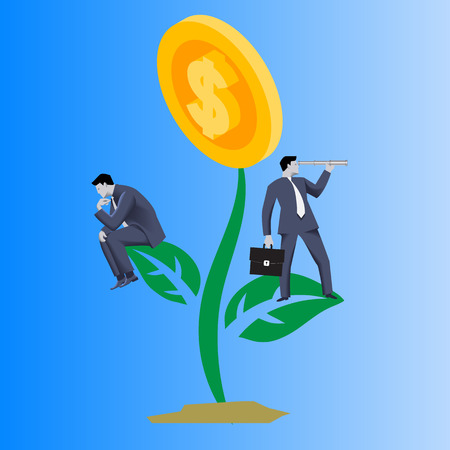 Growing profit business concept. Confident businessmen in business suits stand on growing plant with golden coin instead of flower . Vector illustration. Use as template, background.