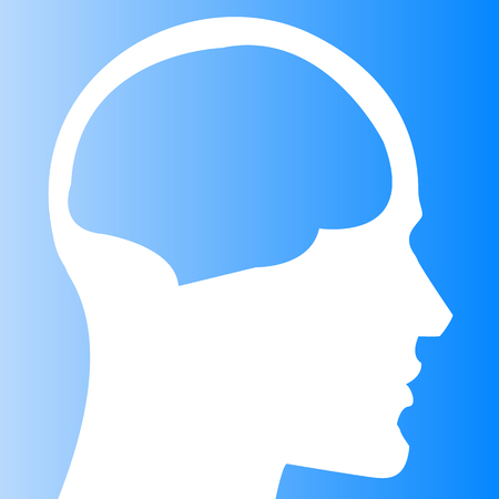 Human head with brain template isolated on gradient background. Vector illustration. Use as template, background. Illustration