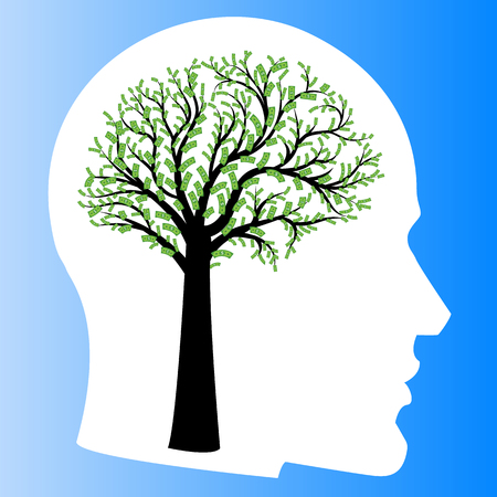 Money tree in shape of human brain inside head. Big tree with dollar bills in form of human brain instead of leaves. Vector illustration , Concept of financial thinking, development of profit strategy