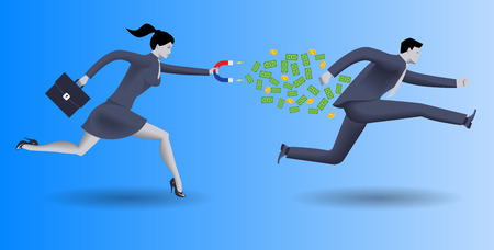 way bill: Debt collector business concept. Confident business woman in business suit with magnet in one hand and case in other chases another businessman and pulls money out of him.