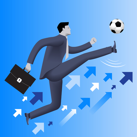 starting a business: Put the ball in the game business concept. Confident businessman in business suit with case kicks soccer ball up to the sky. Concept of starting new business. startup or contract. Vector illustration.
