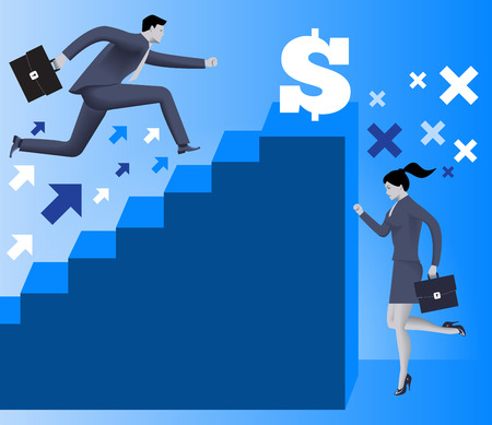 inequality: Gender inequality on career ladder business concept, Business lady looks on steps of career ladder occupied by men. Concept of career inequality, disparity, gender differences. Vector. Illustration