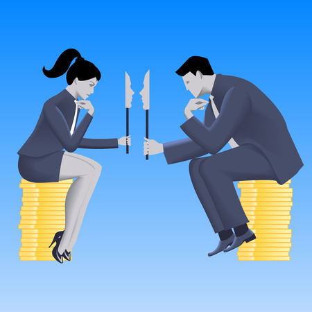 lair: Negotiations of masks business concept. Confident businessman in business suit talks with business lady and both are holding masks covering their true intentions. Talk, conversation, deception vector.