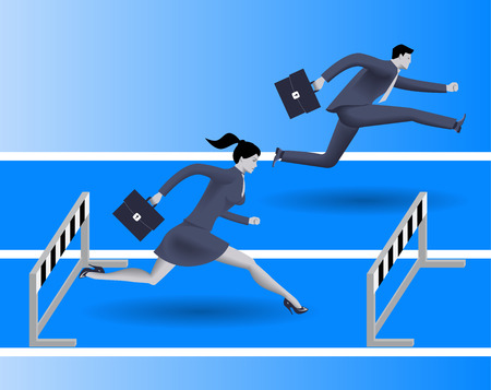 Gender inequality on career path business concept, Business lady runs against businessman on career path, but fails because on her side of path there are a lot of obstacles. Gender differences. Illustration