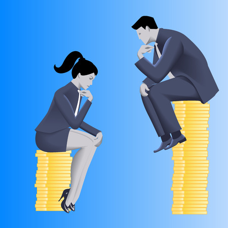 inequality: Gender inequality on payment business concept. Businessman looks from top of coins pile on business lady sitting on lesser pile.Concept of career inequality, disparity, gender differences, foul play Illustration