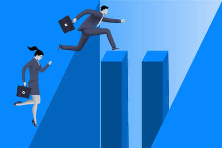 Gender inequality on career path business concept, Business lady stops before abyss, but businessman jumps over abyss because he has helping pillars on his way. Concept of career disparity, foul play Illustration
