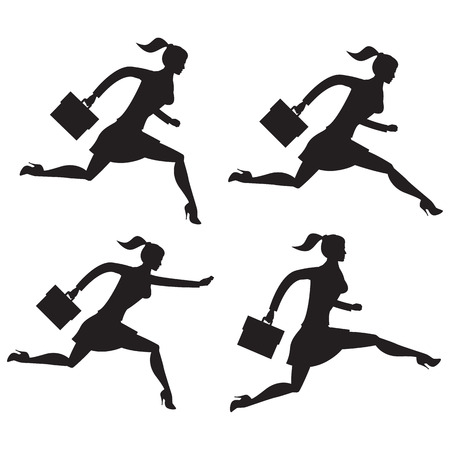 Business lady running set of silhouettes. Running business lady in business suit isolated on white background. Vector illustration. Use as template, background or part of any design.