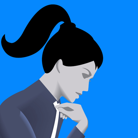 Thinking business lady template. Pensive business lady in business suit isolated on blue background. Vector illustration. Use as template, background or part of design.
